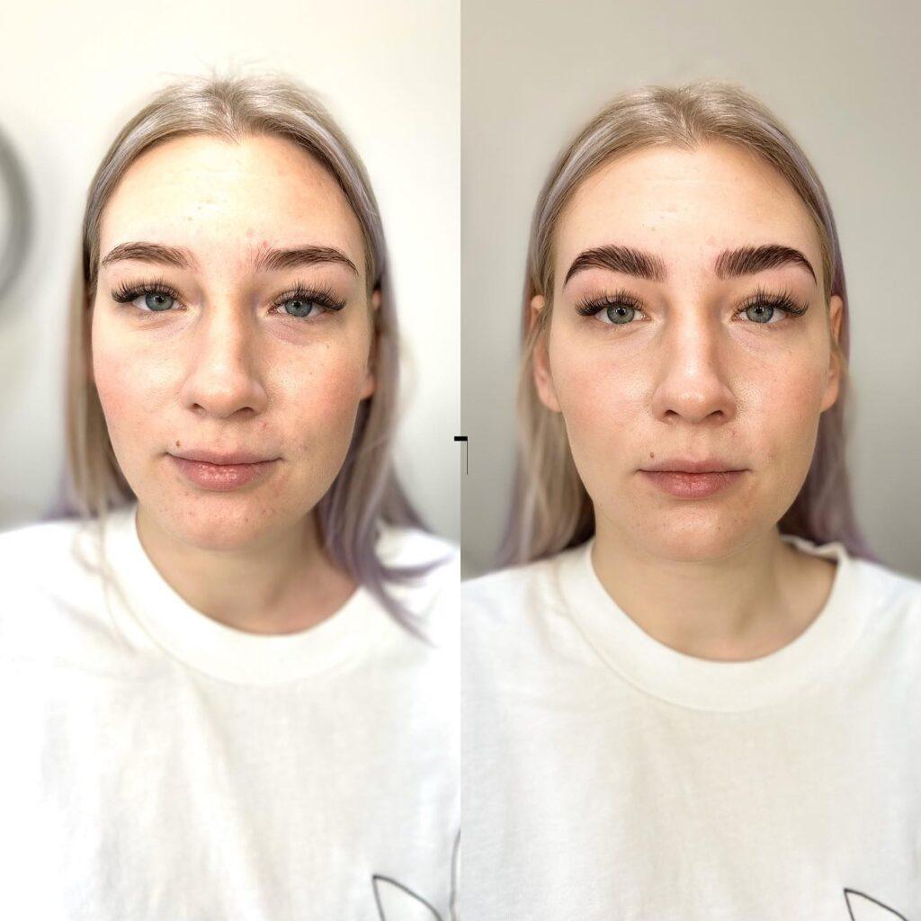 Klient enne ja pärast kulmude lamineerimist.